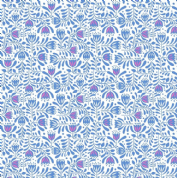 Lewis & Irene - Hann's House - 5813 - Stylised Floral, Blue on White - A278.1 - Cotton Fabric